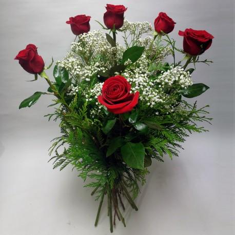 6 Rosas (tallo largo)